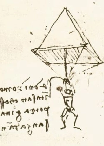 A small sketch of a man hanging from a pyramid shaped chute. His legs are dangling like a frogs as he holds onto the strings above his head. There are scribbled words next to him that I do not understand. I like to imagine that they are what he is yelling about his current predicament. I would be yelling an awful lot. Apparently Leonardo liked to use backwards mirror writing as well as a special shorthand that he invented for himself. He only wrote in the normal direction when he was writing for other people, so you live and learn.